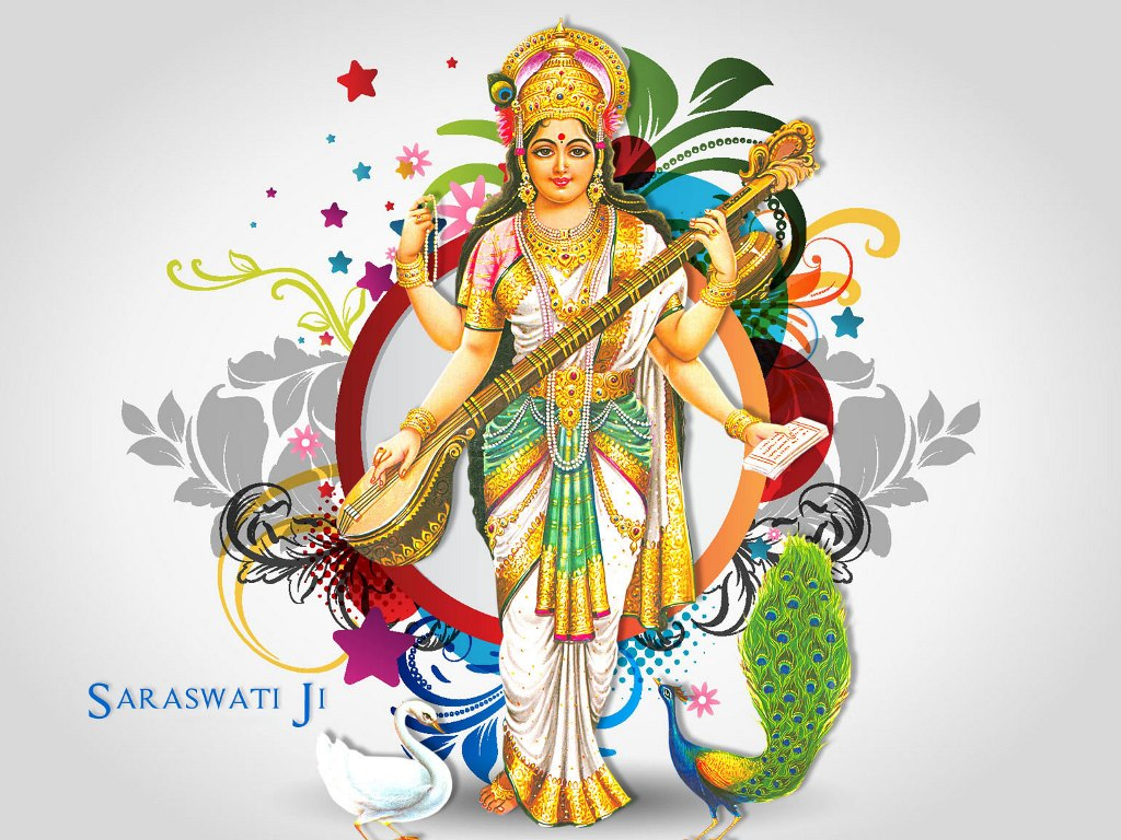 Goddess of knowledge and education Maa Saraswati Wallpaper